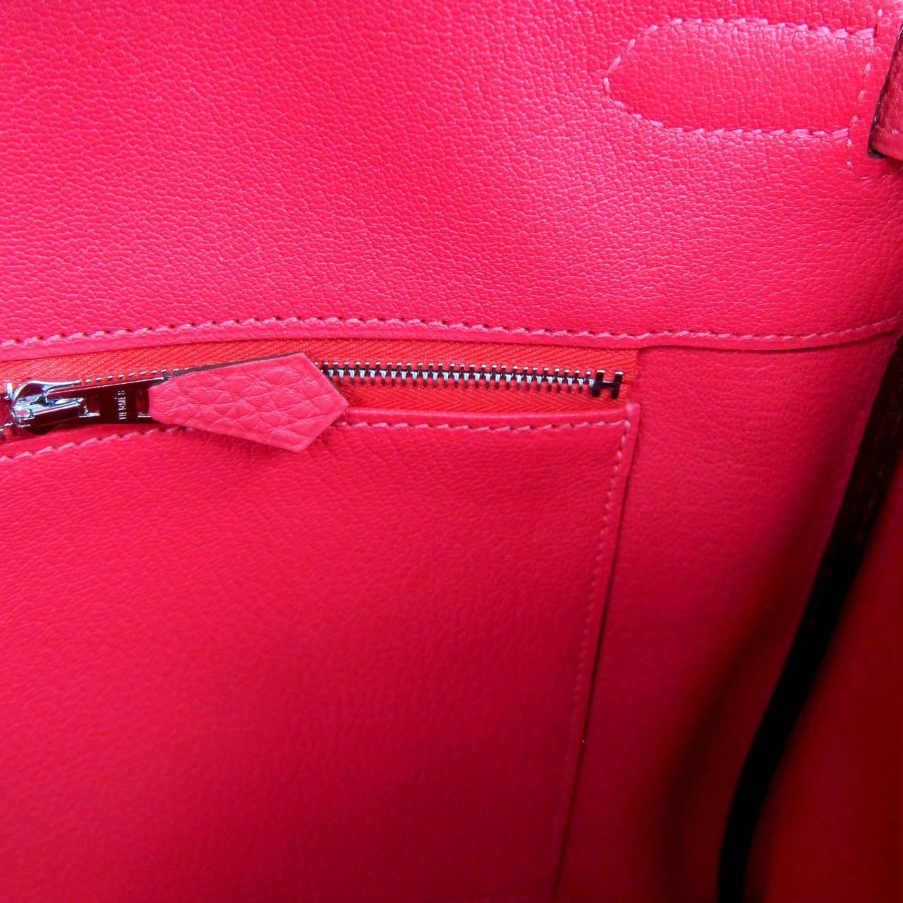 Hermes Rouge Pivoine 40cm Togo Birkin Bag Palladium Luscious For Sale 4