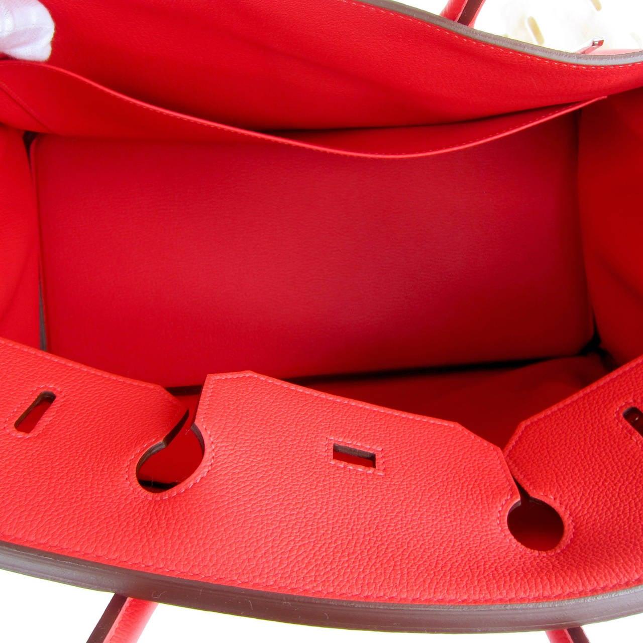 Hermes Rouge Pivoine 40cm Togo Birkin Bag Palladium Luscious For Sale 3