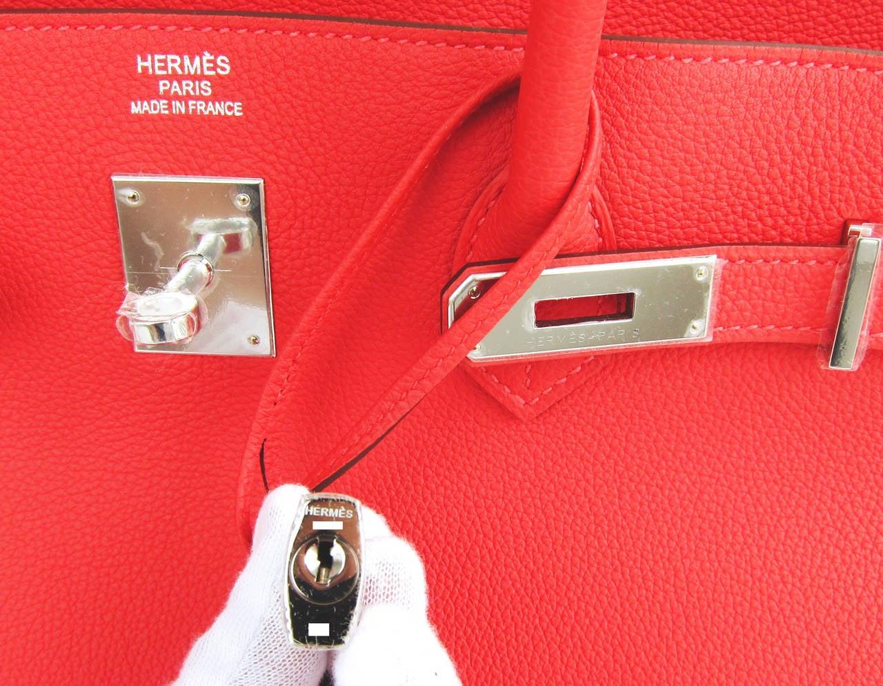 Hermes Rouge Pivoine 40cm Togo Birkin Bag Palladium Luscious For Sale 5