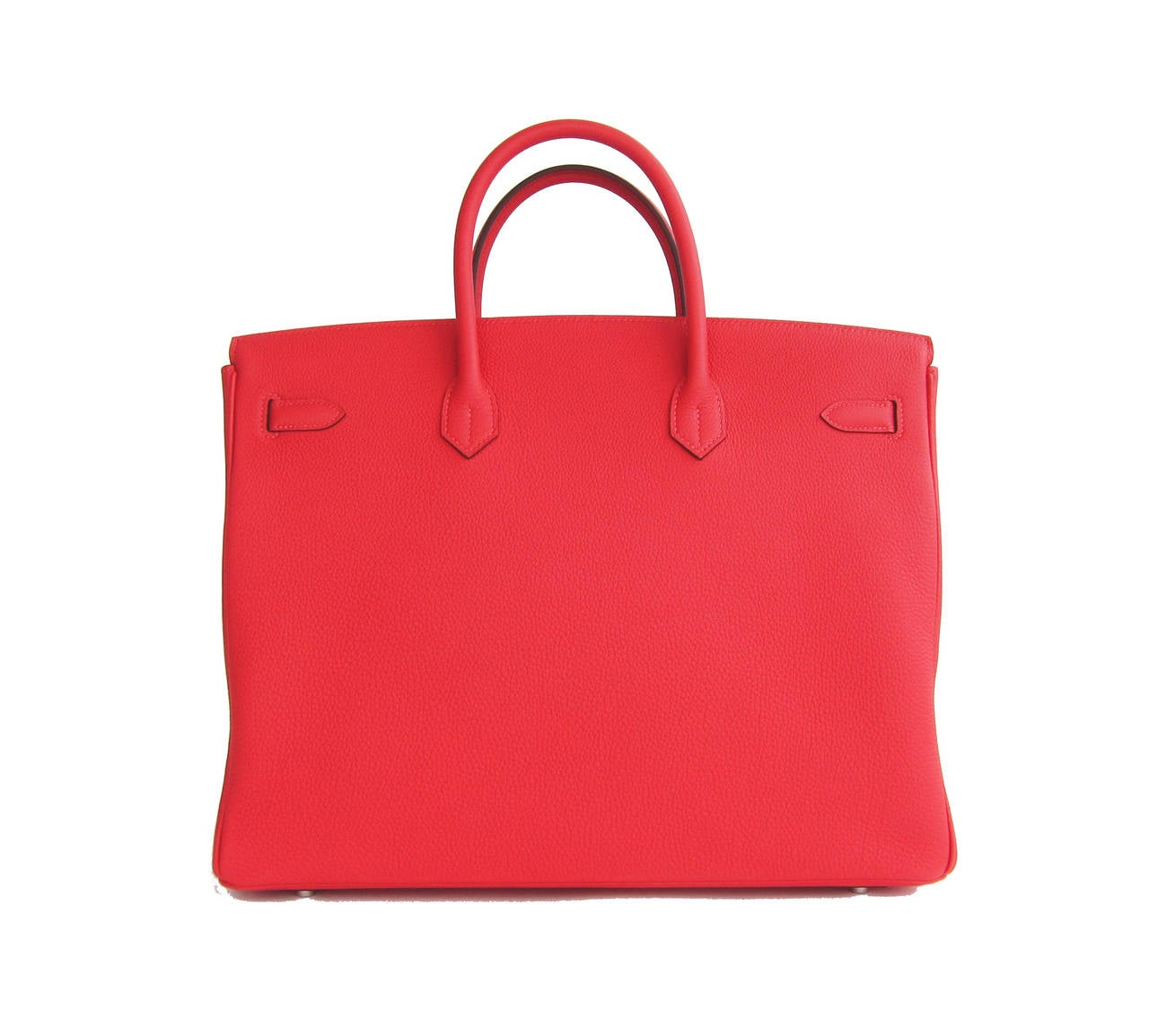 Hermes Rouge Pivoine 40cm Togo Birkin Bag Palladium Luscious In New never worn Condition For Sale In New York, NY