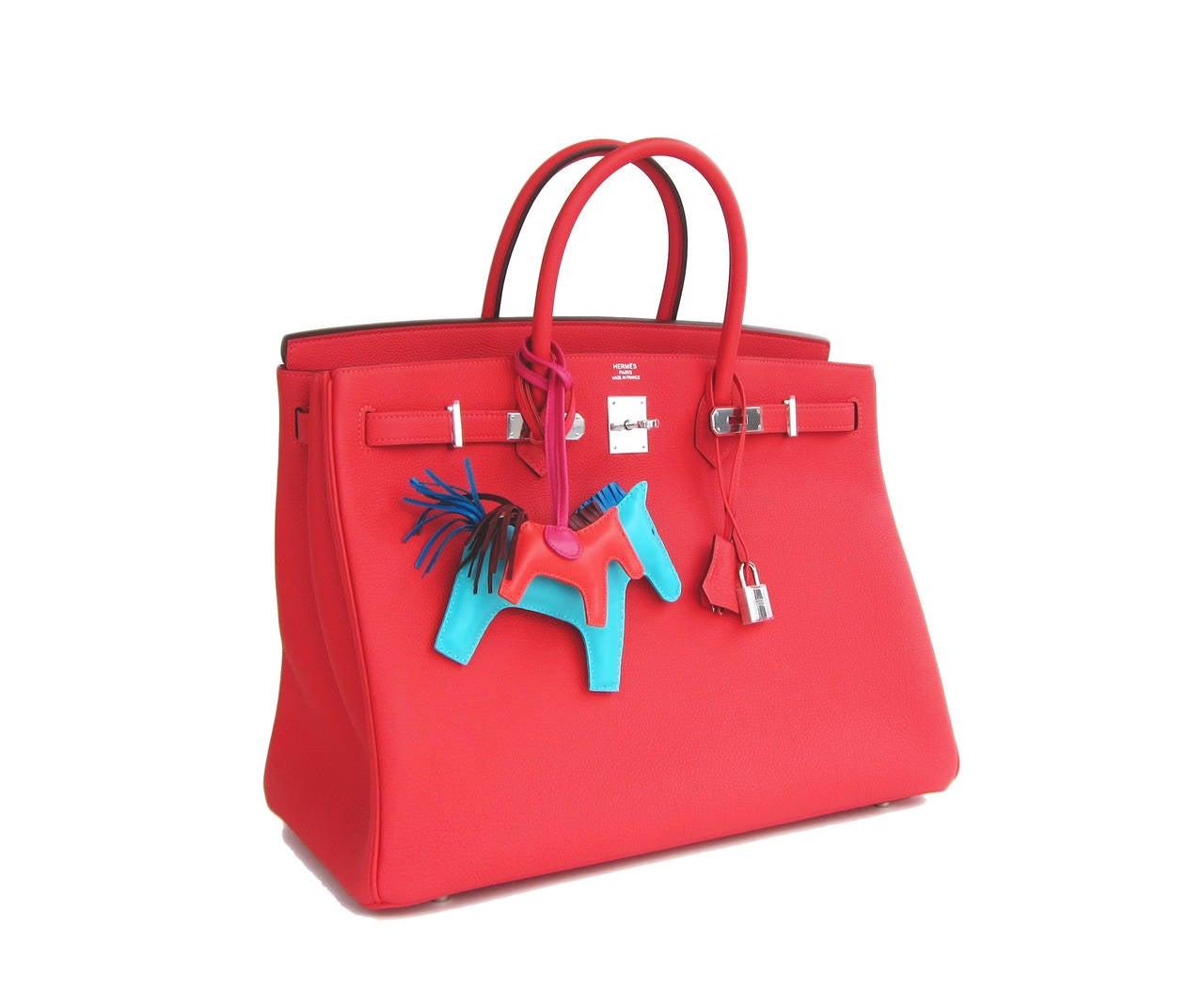 "Hermes Rouge Pivoine ""Peony Red"" 40cm Togo Birkin Bag Palladium Luscious  Brand New in Box Comes full set with keys, lock, clochette, a sleeper for the bag, rain protector, Hermes ribbon, and original box. Rouge Pivoine, or ""Peony Red,"" is the"