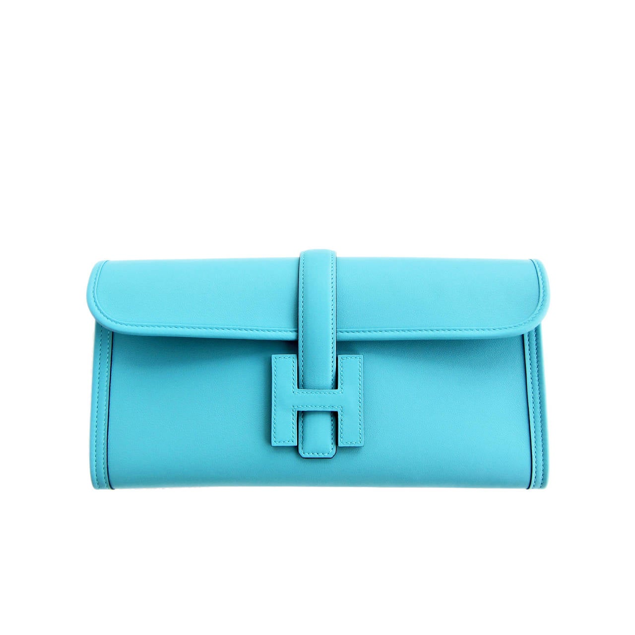 Hermes Blue Atoll Jige Elan 29cm Swift Clutch Bag Stunning For Sale
