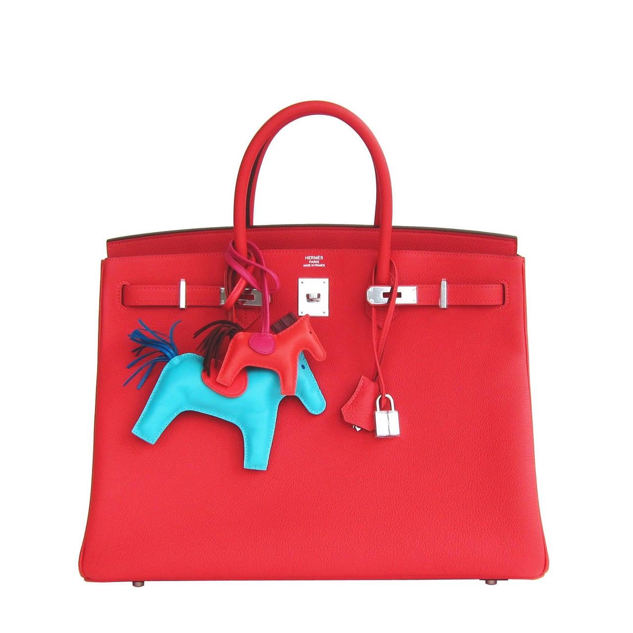 Hermes Rouge Pivoine 40cm Togo Birkin Bag Palladium Luscious For Sale