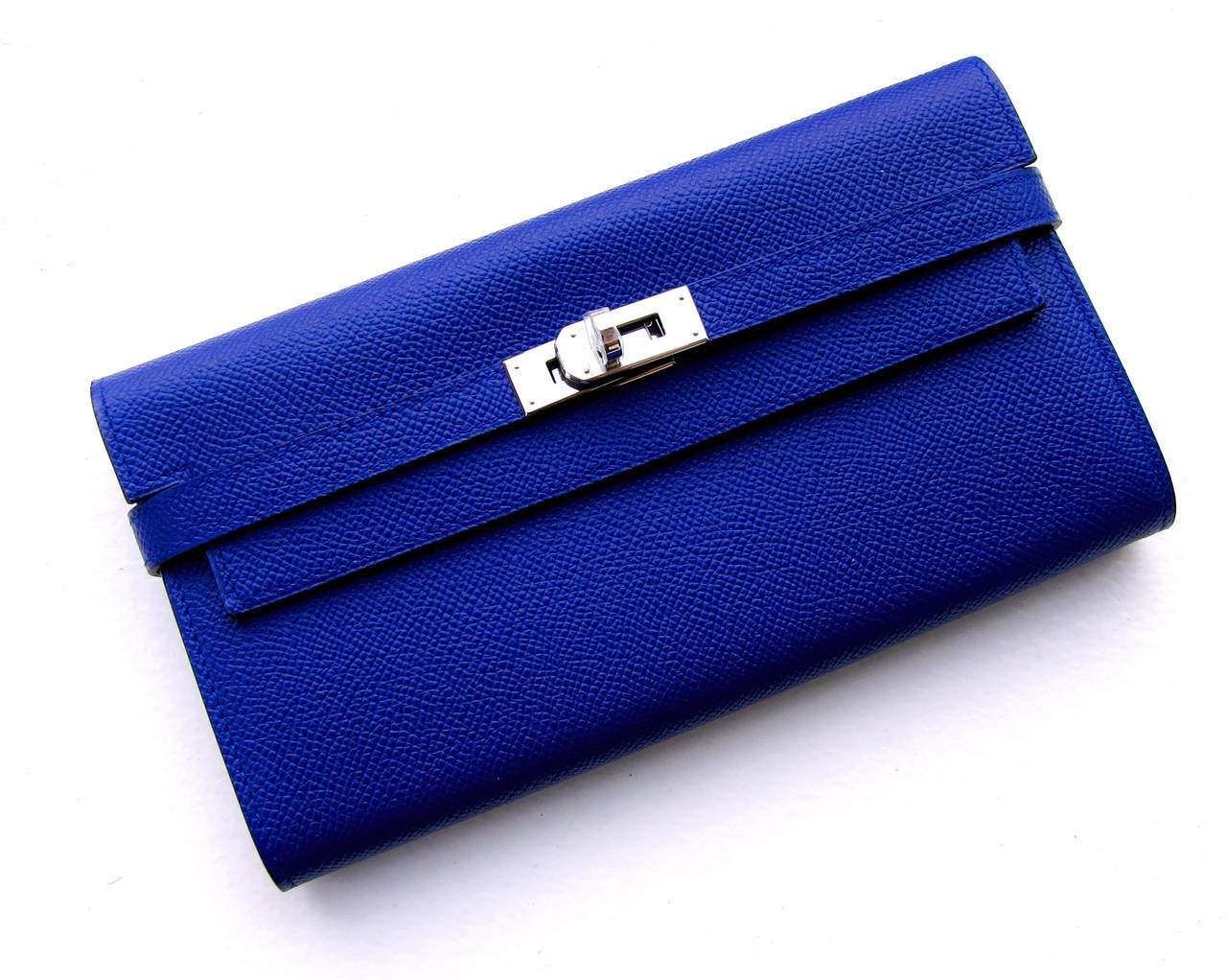Hermes Blue Electric Epsom Kelly Long Wallet PHW Adore 2