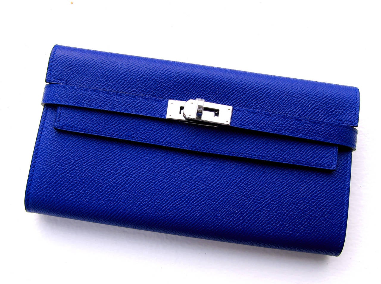 Hermes Blue Electric Epsom Kelly Long Wallet PHW Adore 4