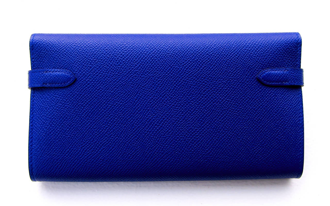 Hermes Blue Electric Epsom Kelly Long Wallet PHW Adore 3