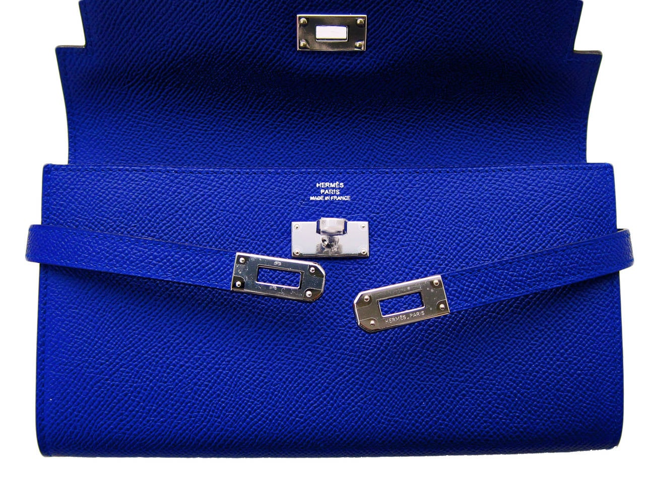 Hermes Blue Electric Epsom Kelly Long Wallet PHW Adore 5