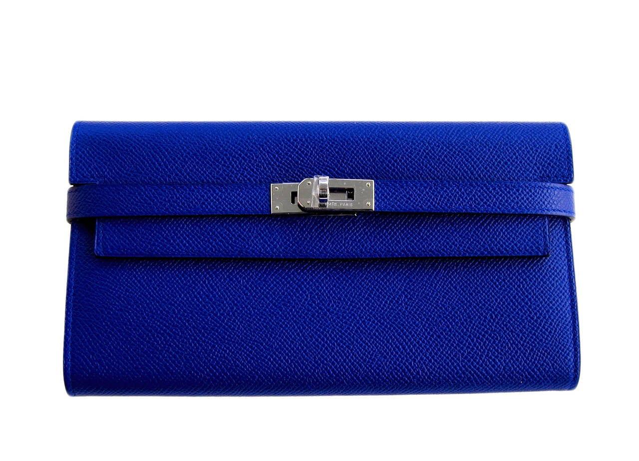 Hermes Blue Electric Epsom Kelly Long Wallet PHW Adore 8