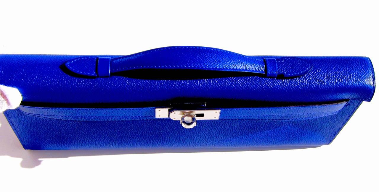 4a14951dd7 Hermes Blue Electric Epsom Kelly Cut Pochette Clutch Bag Fabulous .
