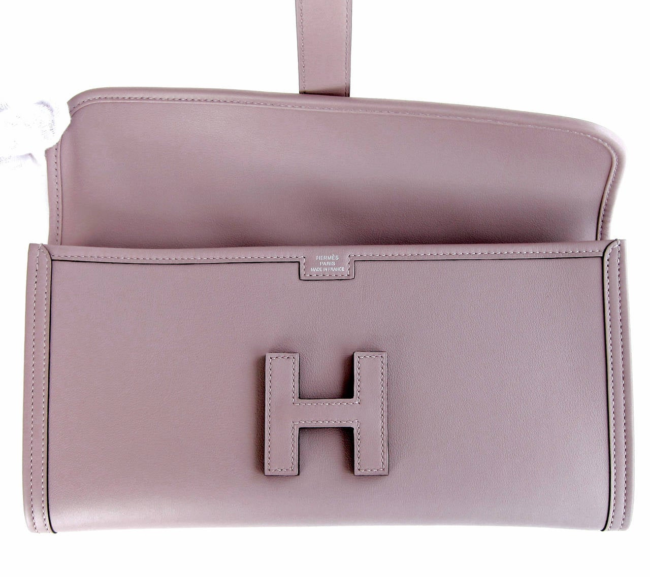 HERMES Glycine Lilac Jige Swift Elan Leather Clutch 29cm So Pretty! 6