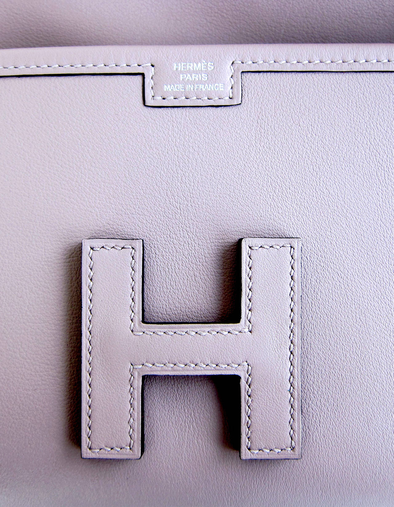 HERMES Glycine Lilac Jige Swift Elan Leather Clutch 29cm So Pretty! 7