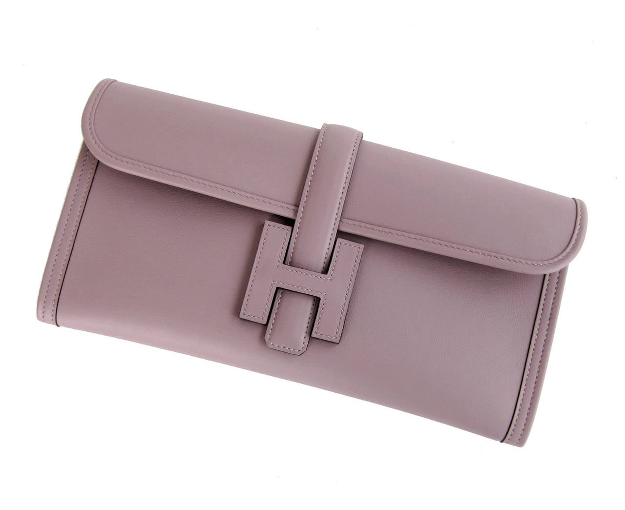 HERMES Glycine Lilac Jige Swift Elan Leather Clutch 29cm So Pretty! 4