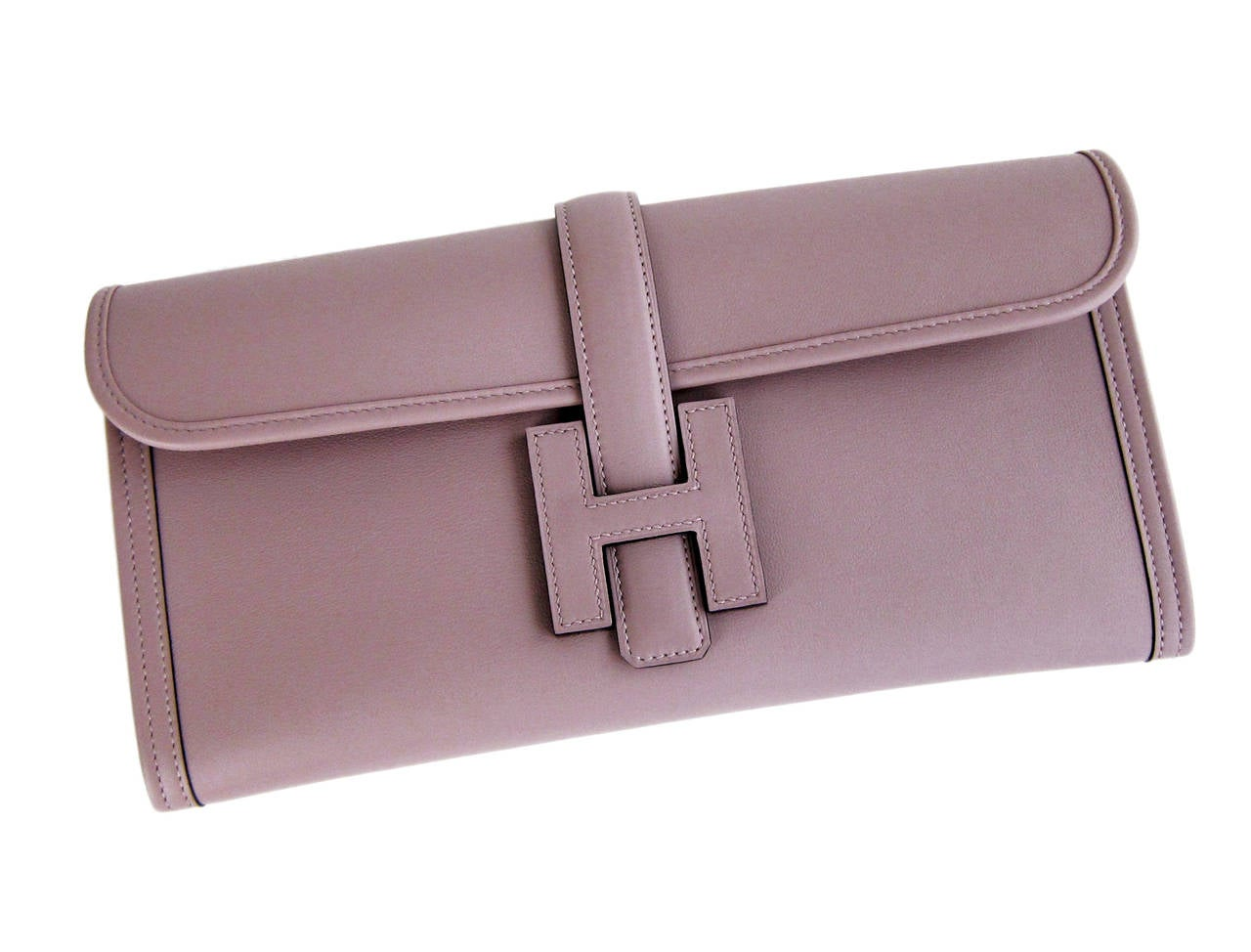 HERMES Glycine Lilac Jige Swift Elan Leather Clutch 29cm So Pretty! 2