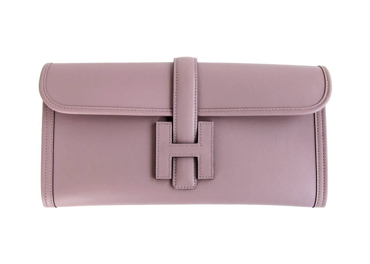 HERMES Glycine Lilac Jige Swift Elan Leather Clutch 29cm So Pretty! 9