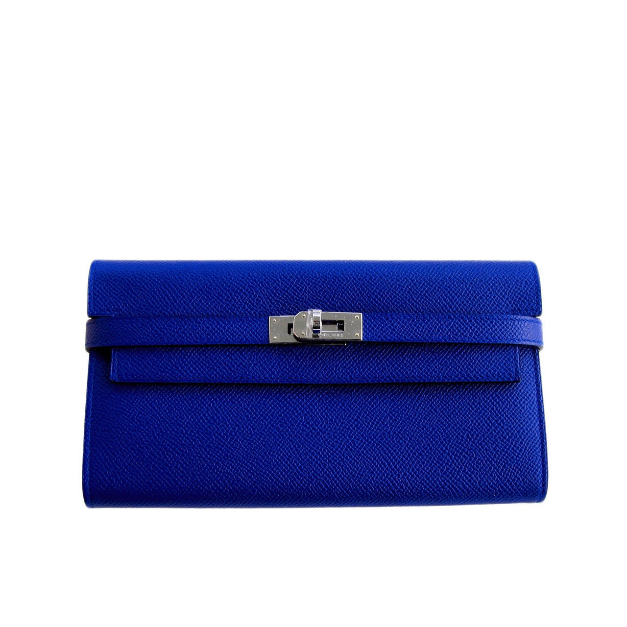 Hermes Blue Electric Epsom Kelly Long Wallet PHW Adore 1