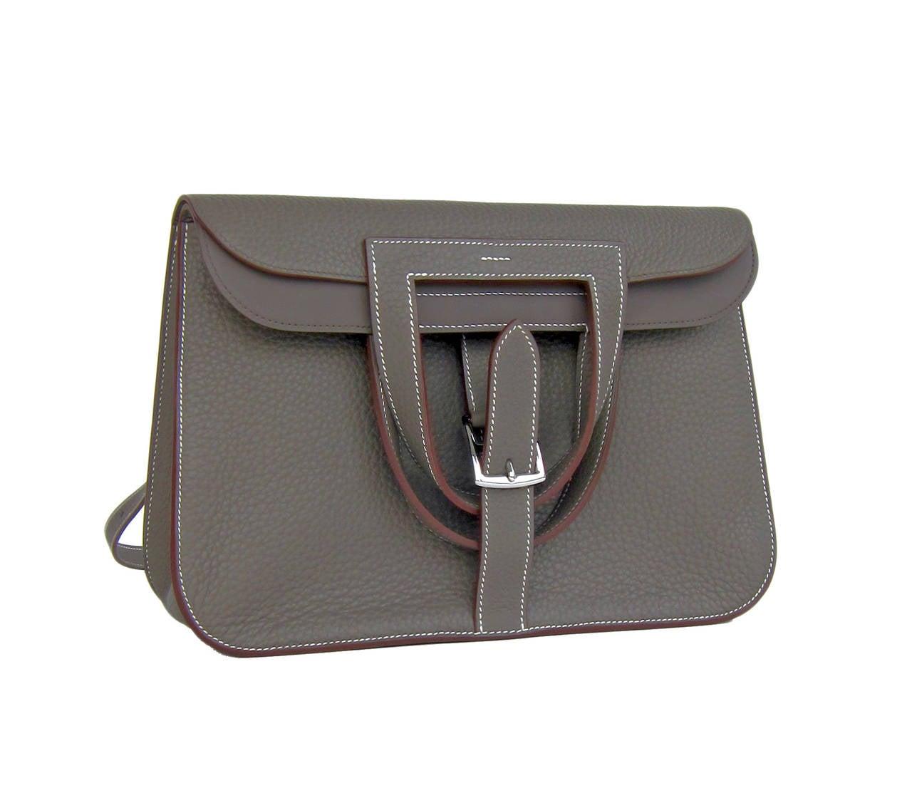 This Hermes Etain Grey Halzan 4-way Clemence Crossbody Bag is no ...