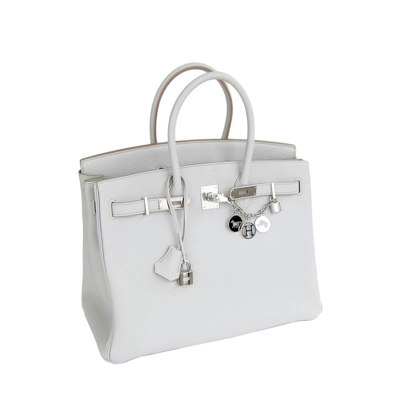 Hermes Gris Perle Fjord 35cm Birkin Bag Palladium Sophisticated 2