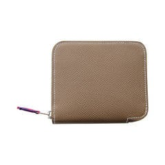Hermes Etoupe Compact Epsom Blue Electric Sangles Silk-In Azap Wallet