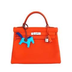 Hermes Feu Orange 32cm Togo Kelly Shoulder Bag Palladium Fabulous