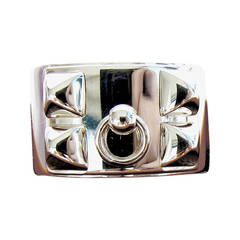 Hermes Collier de Chien Solid Silver Ring 53 Iconic Below Retail