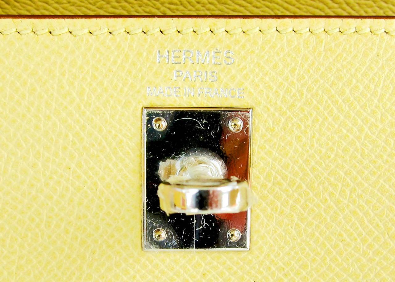 Hermes 25cm Jaune Poussin Sellier Epsom Kelly Palladium Jewel 7