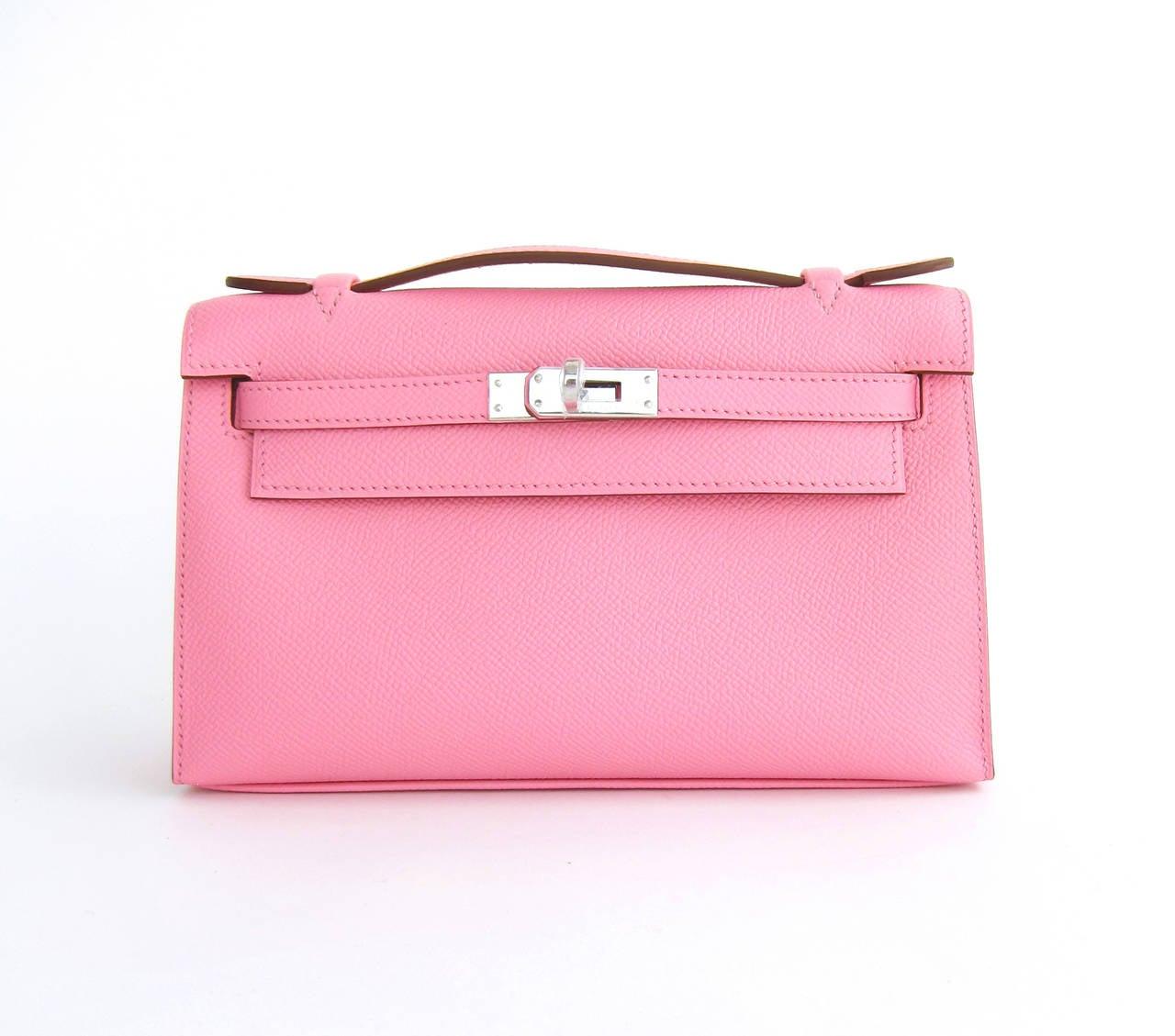 Hermes Rose Confetti Epsom Kelly Pochette Pink Clutch Bag Love For Sale 6