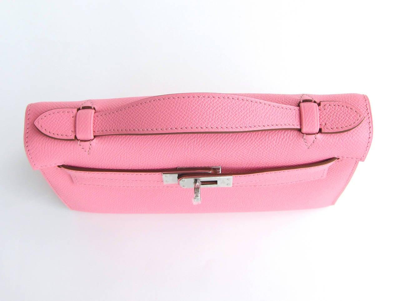 Hermes Rose Confetti Epsom Kelly Pochette Pink Clutch Bag Love For Sale 3