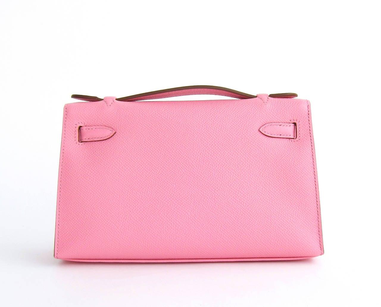 Hermes Rose Confetti Epsom Kelly Pochette Pink Clutch Bag Love 3
