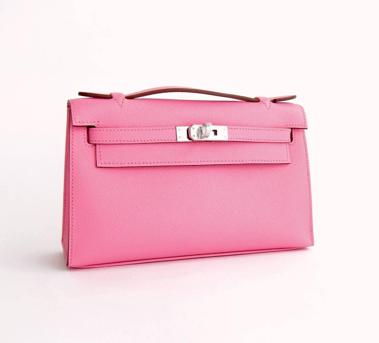 Hermes Rose Confetti Epsom Kelly Pochette Pink Clutch Bag Love 2