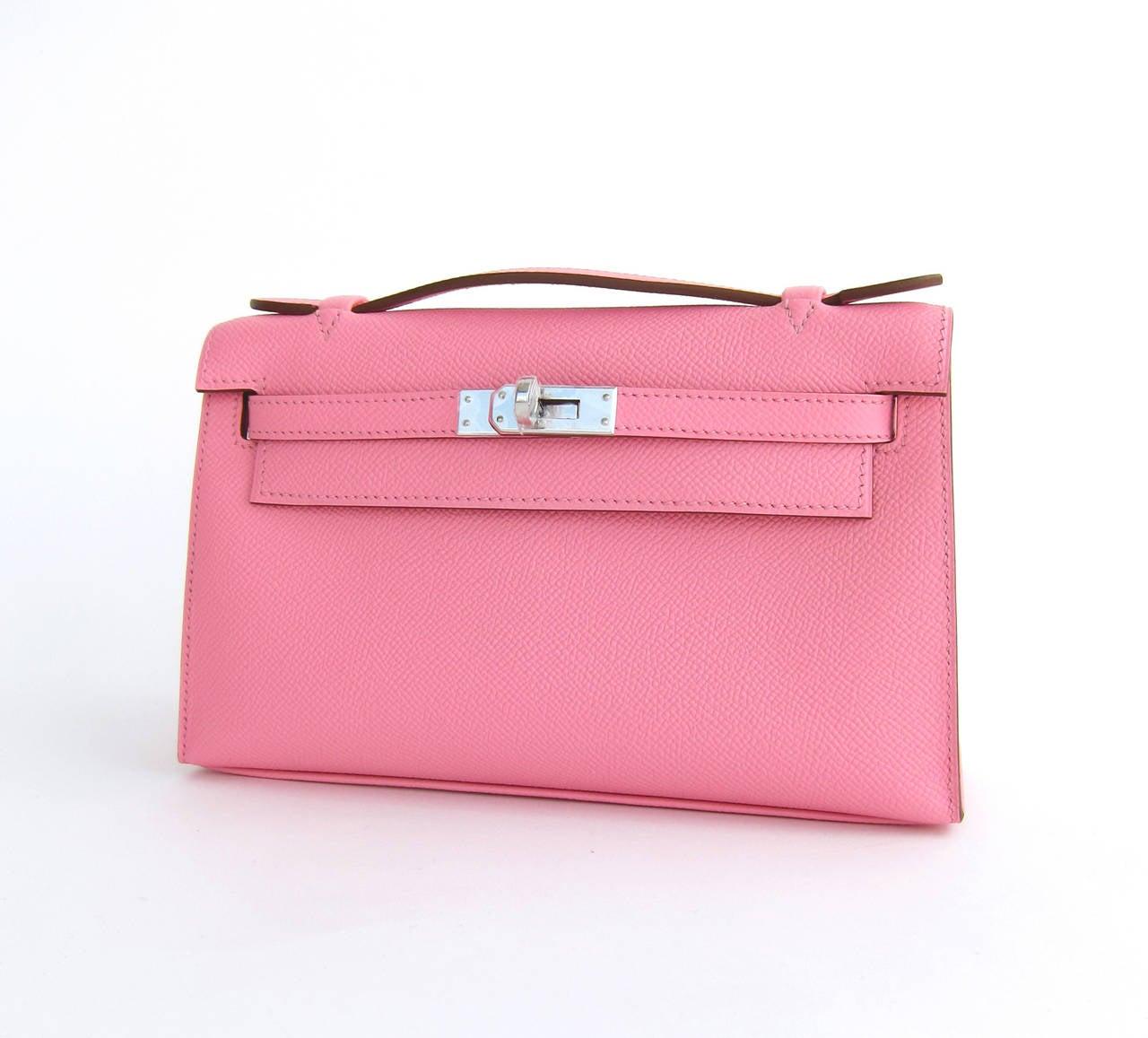 Hermes Rose Confetti Epsom Kelly Pochette Pink Clutch Bag Love 4