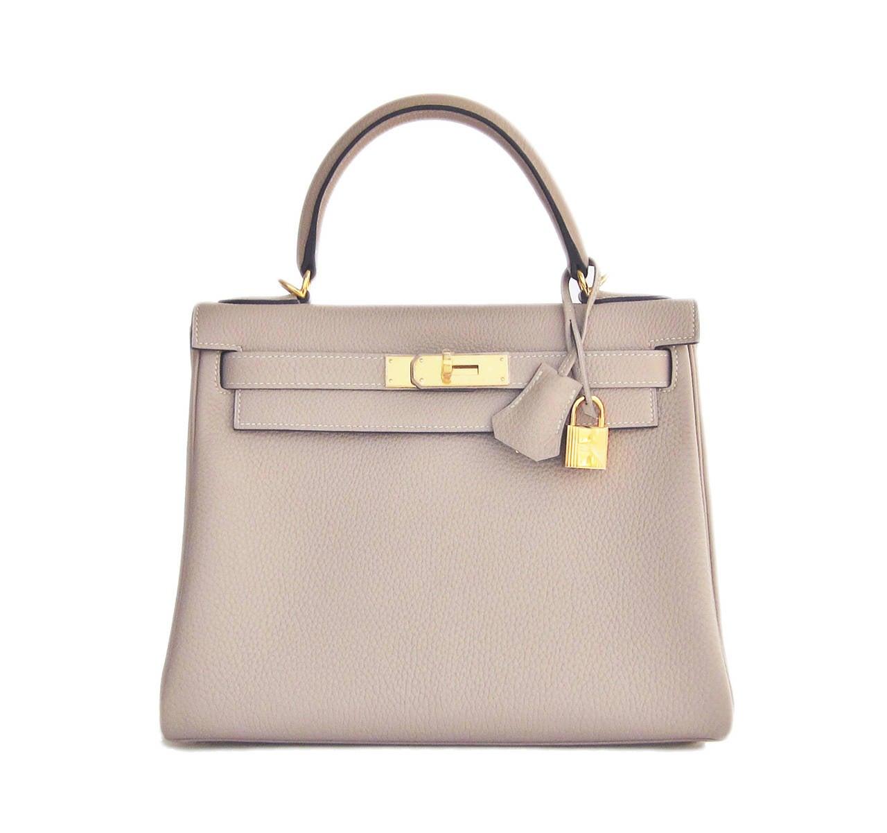 Hermes Gris Tourterelle 28cm Togo Kelly Gold GHW Shoulder Bag Perfection 7