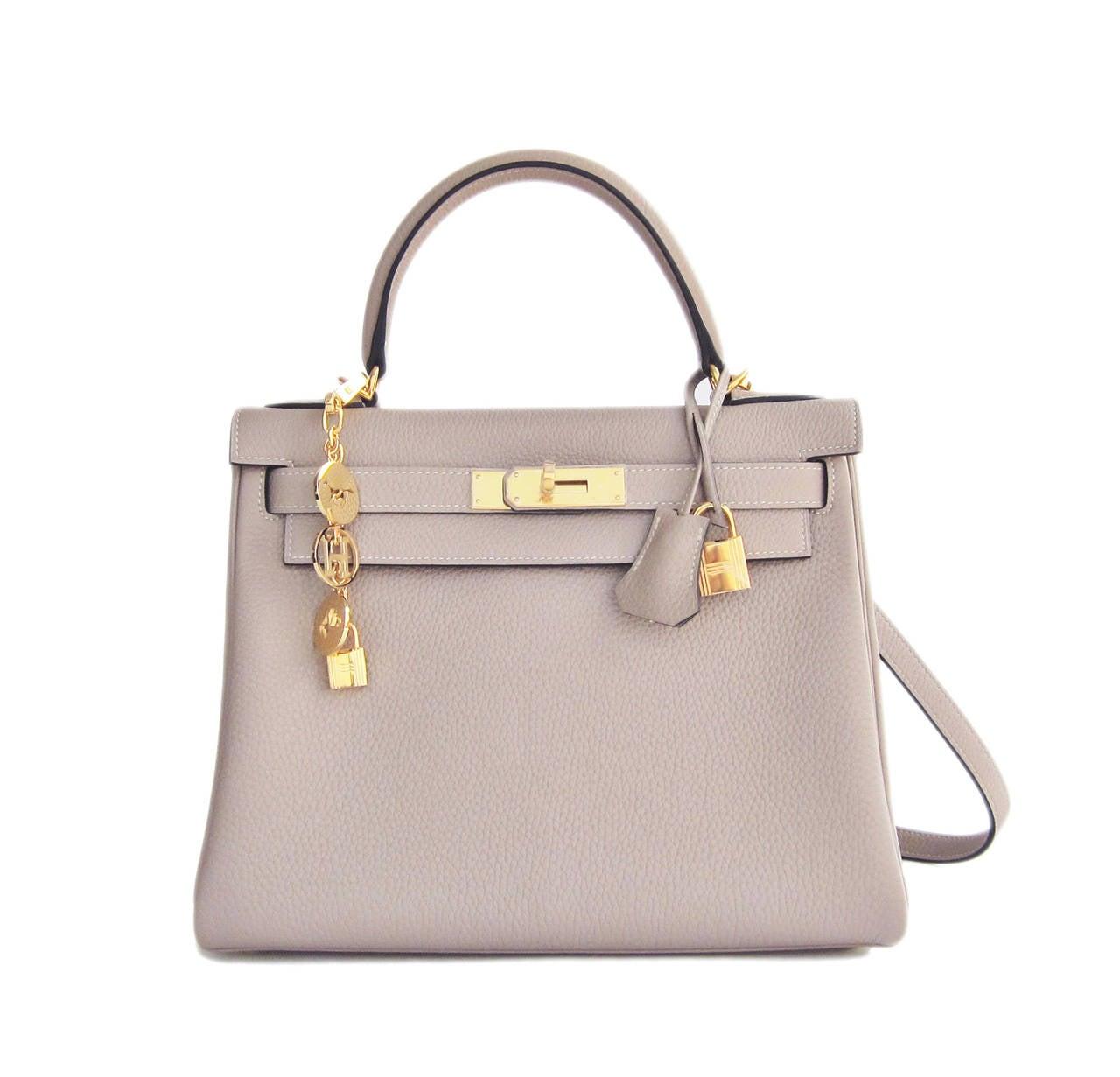 Hermes Gris Tourterelle 28cm Togo Kelly Gold GHW Shoulder Bag Perfection 10