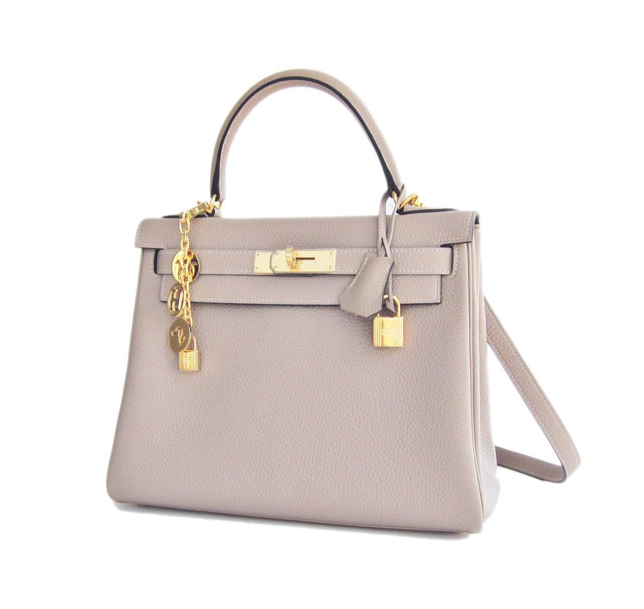 Hermes Gris Tourterelle 28cm Togo Kelly Gold GHW Shoulder Bag Perfection 4