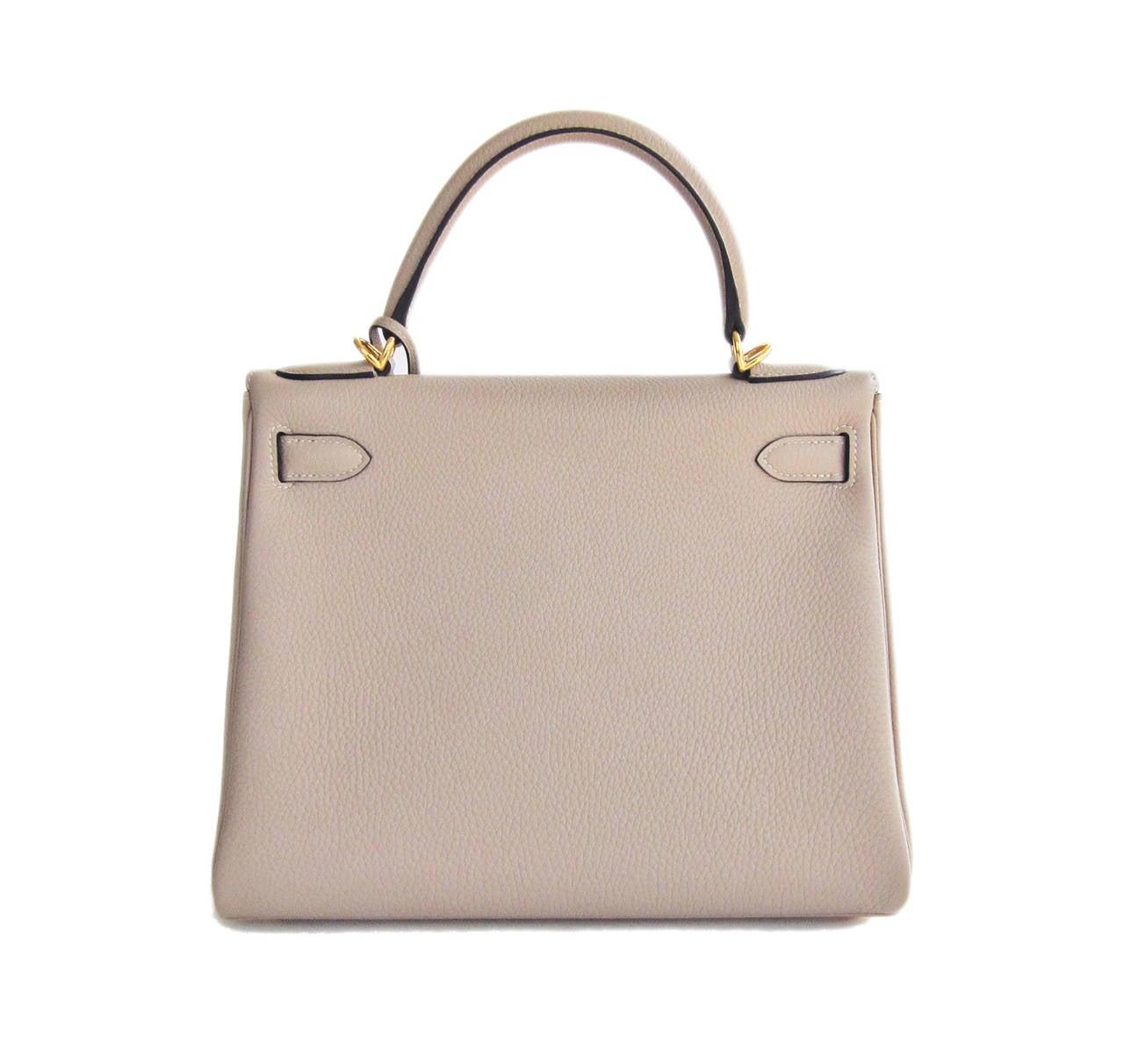 Hermes Gris Tourterelle 28cm Togo Kelly Gold GHW Shoulder Bag Perfection 3