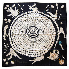 Hermes Reve de Corail Black Cream Beige Silk Carre Scarf 90cm Grail