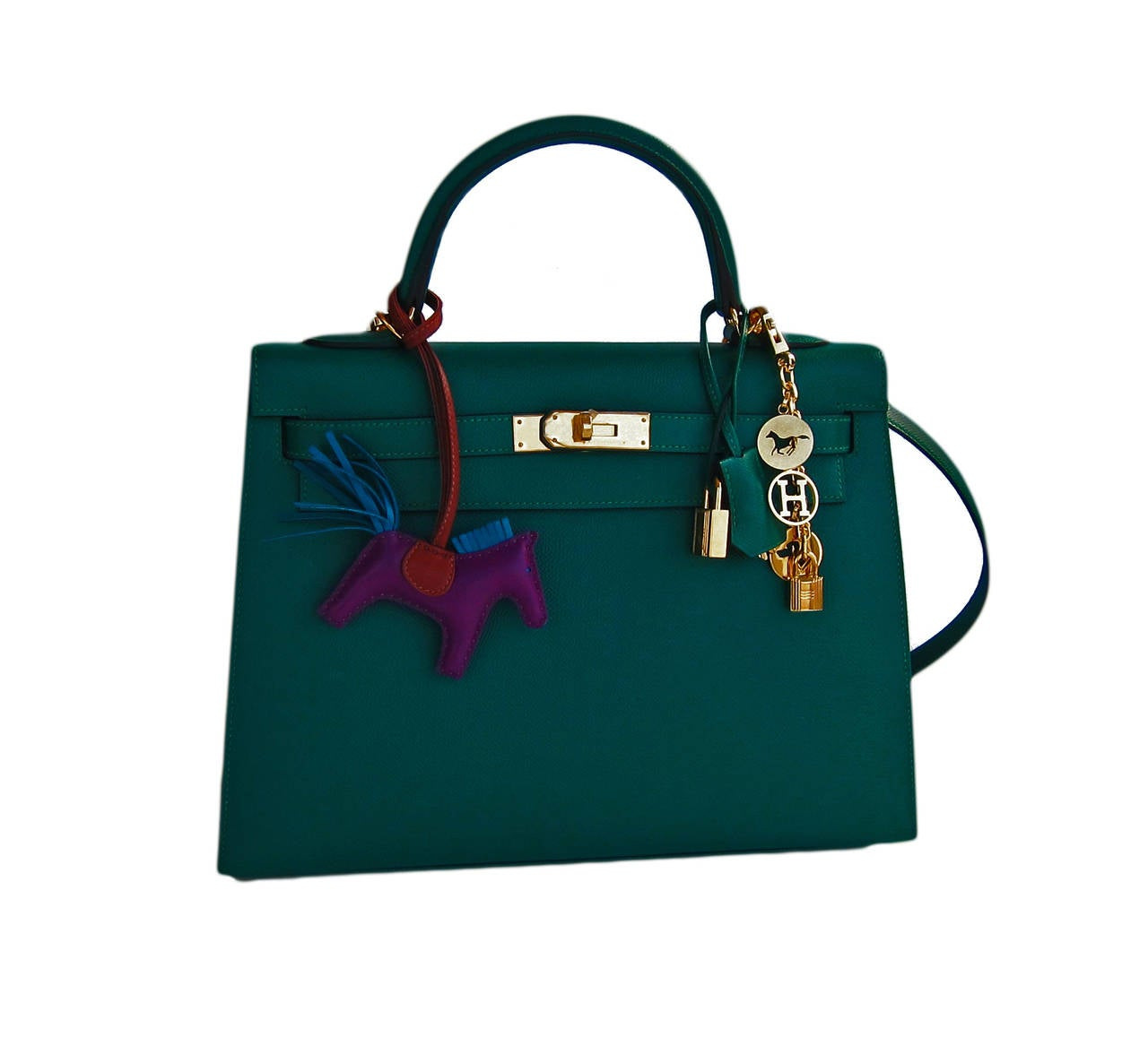 Celeb Fave Hermes 32cm Malachite Gold Sellier GHW Emerald Epsom Kelly In New Never_worn Condition For Sale In New York, NY
