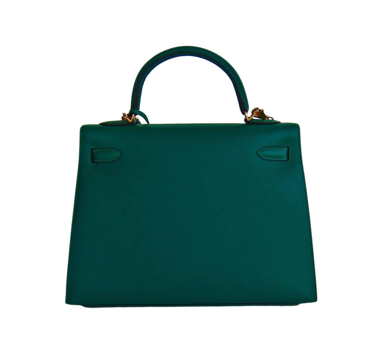 Black Celeb Fave Hermes 32cm Malachite Gold Sellier GHW Emerald Epsom Kelly For Sale