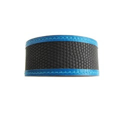 Hermes Petit H  Black and Blue Lizard and Calf Leather Cuff Bracelet