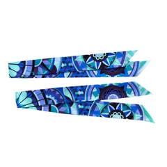 Hermes Floral Geometric Green Blue Purple Silk Twilly Scarf Set Twillies