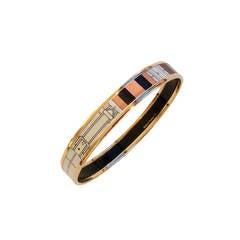 Hermes Rose Gold Printed Enamel Bangle Bracelet 70mm GM Equestrian