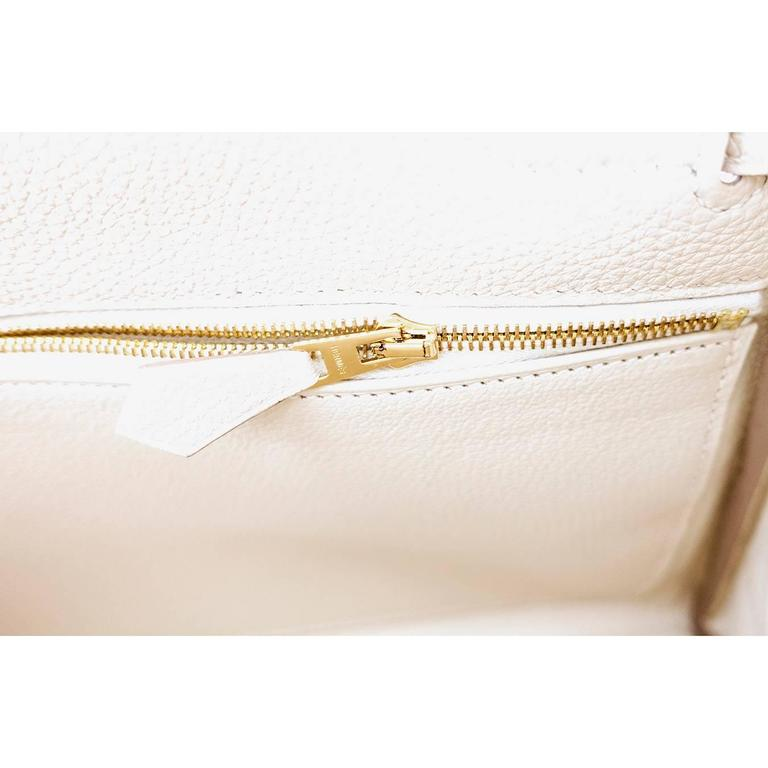 Hermes Craie 28cm Chalk Togo Kelly Gold GHW Shoulder Bag Classic For Sale 6