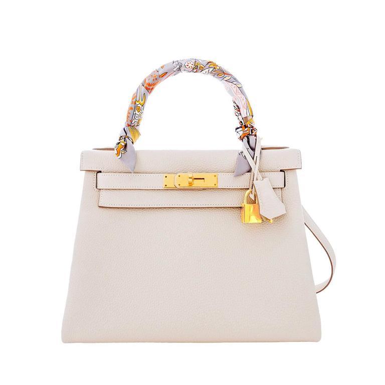 Hermes Craie 28cm Chalk Togo Kelly Gold GHW Shoulder Bag Classic 2