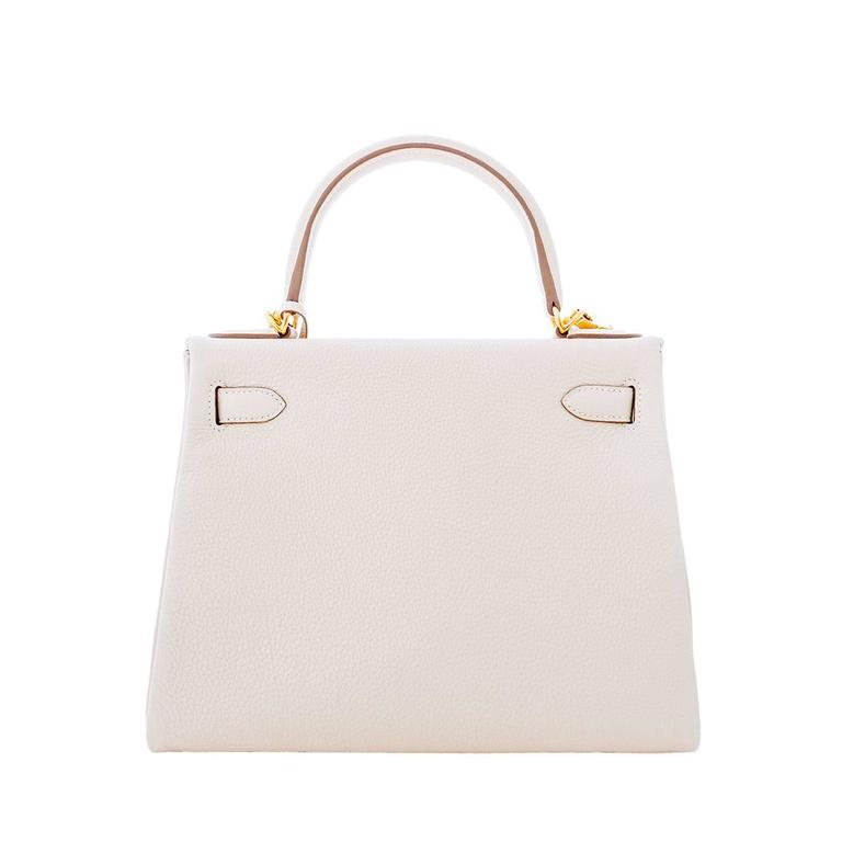 Women's Hermes Craie 28cm Chalk Togo Kelly Gold GHW Shoulder Bag Classic For Sale