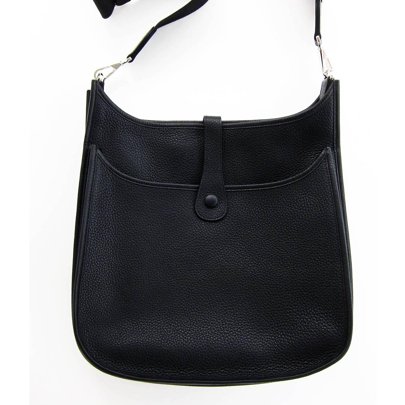 Hermes Black Evelyne Unisex GM Clemence Cross Body Messenger Bag ...