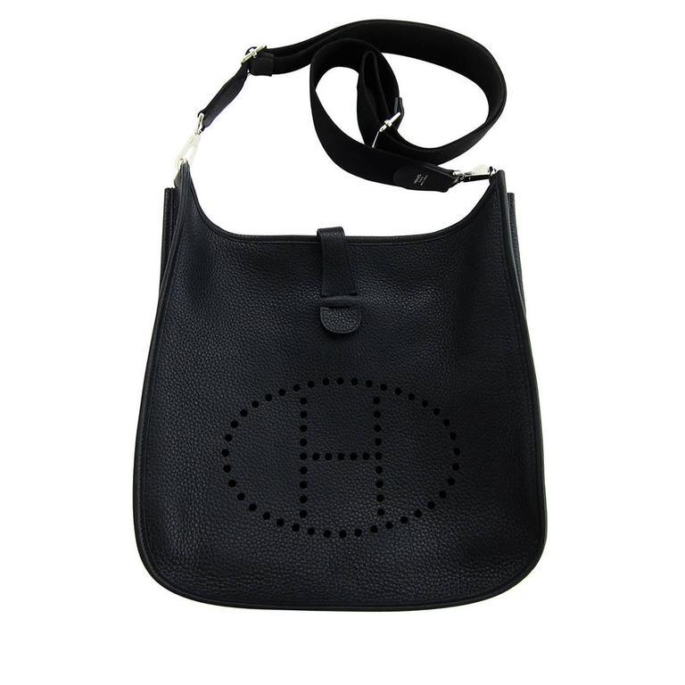 This Hermes Black Evelyne Unisex GM Clemence Cross Body Messenger Bag ...