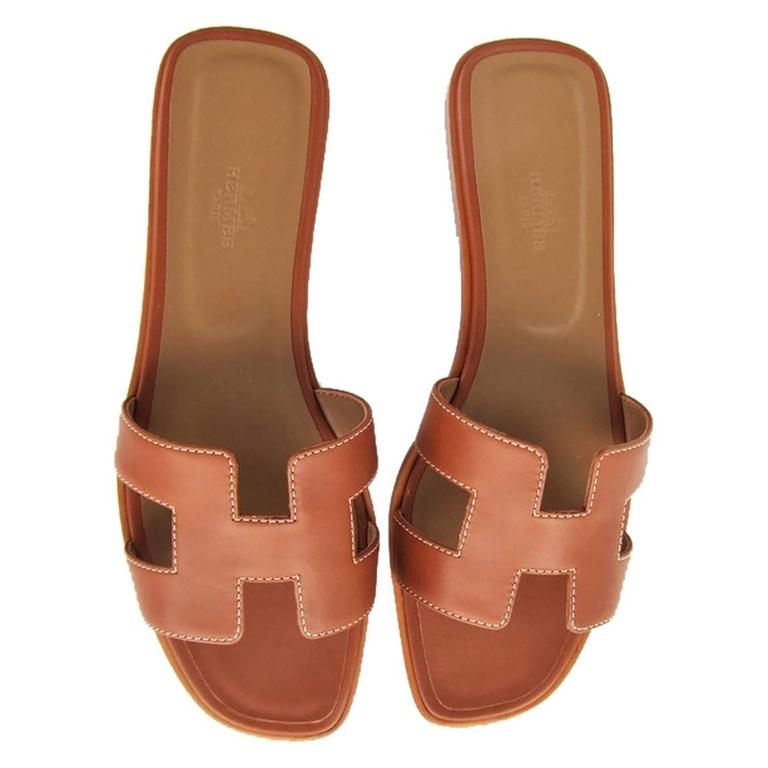 Hermes Gold Oran Box Leather Sandals Shoes Size 40 or 3.9 Iconic 3