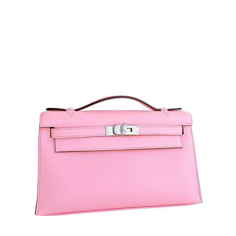 Hermes Rose Sakura Kelly Pochette Cut Clutch Bag Swift Palladium 2