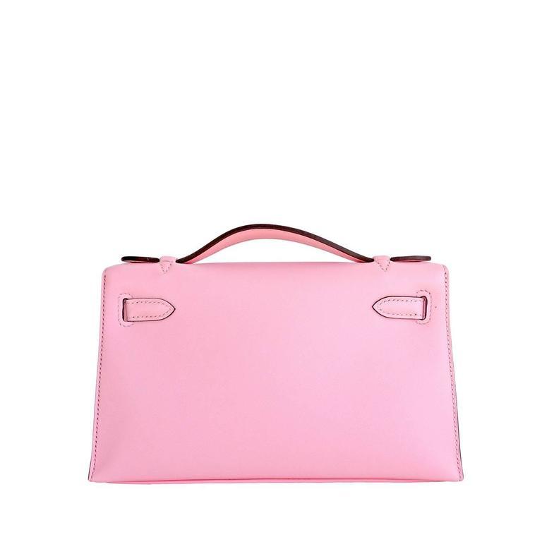 Hermes Rose Sakura Kelly Pochette Cut Clutch Bag Swift Palladium 3