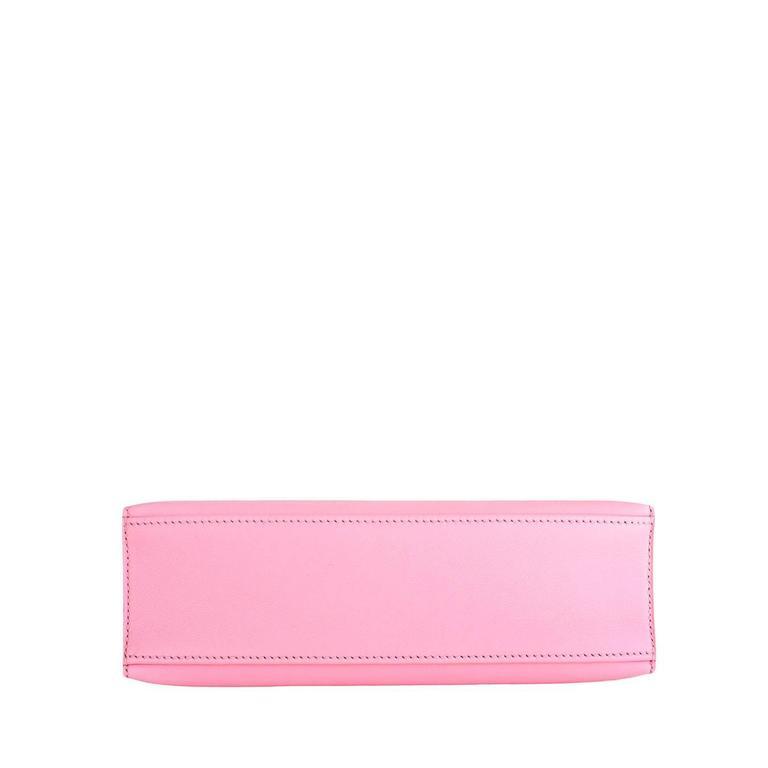 Hermes Rose Sakura Kelly Pochette Cut Clutch Bag Swift Palladium 6