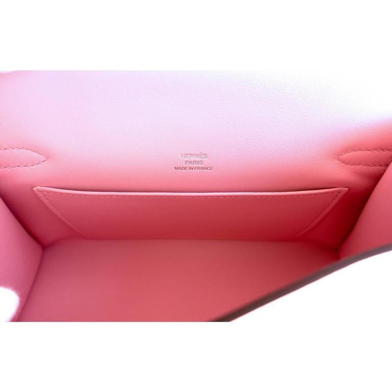 Hermes Rose Sakura Kelly Pochette Cut Clutch Bag Swift Palladium 5